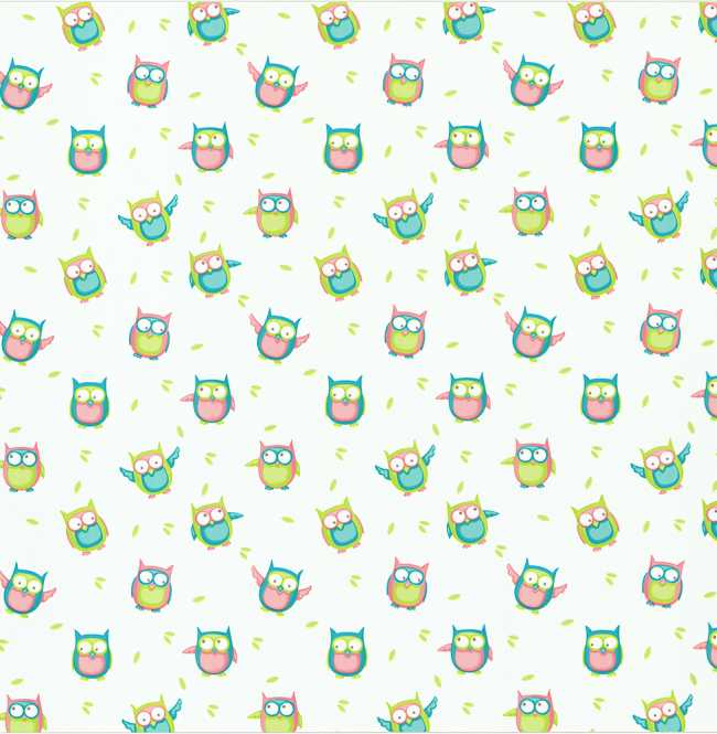 Рулонная штора Mini. Совушки блэкаут
