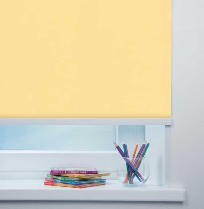Рулонная штора Mini. Карина блэкаут Светло-желтый