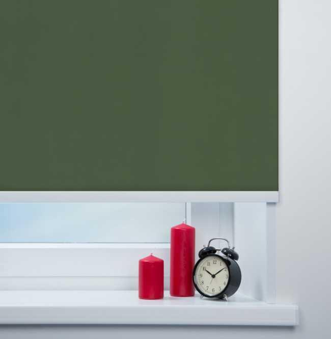 Рулонная штора Mini. Карина блэкаут Темно-зеленый