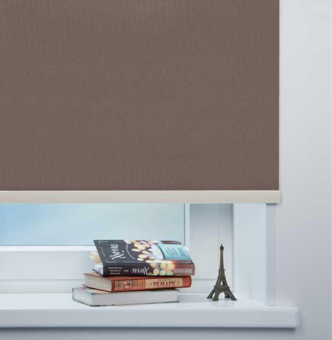 Рулонная штора Mini. Металлик Темно-коричневый