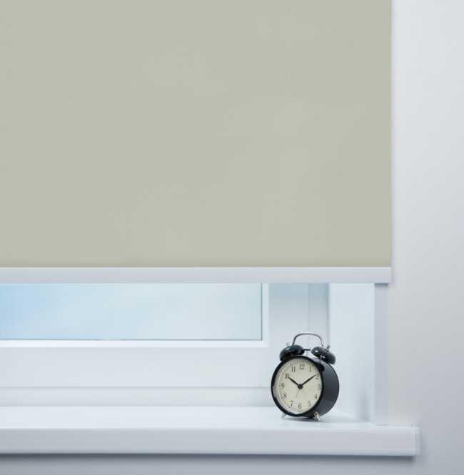 Рулонная штора Mini. Респект блэкаут Светло-серый